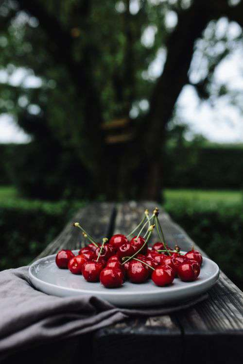 Fresh Cherries on a simple plate