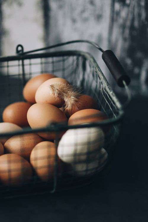 Metal wire basket with eggs