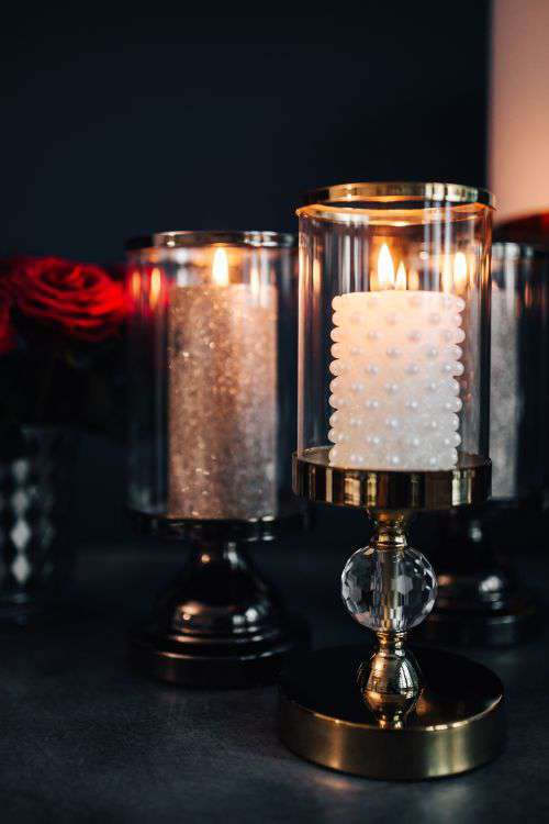 Gold Lanterns with Red Roses