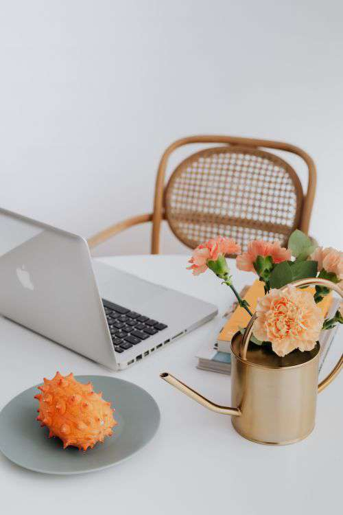 A woman works on a laptop at home