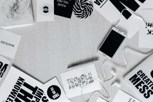 Top view of black and white typography sentences
