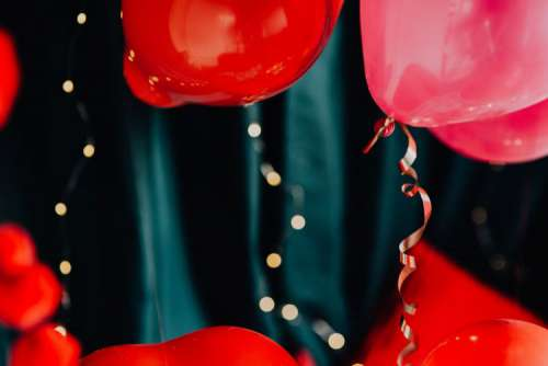 Red Balloons and Decorations for Valentine's Day
