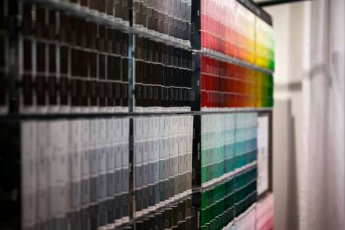 Wall with colour samples