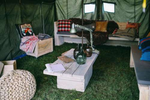 Interior of military styled tent