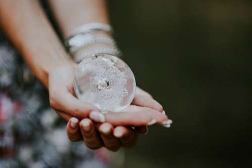 Woman with a little crystal ball