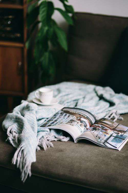 Resting with magazine and cute puppy