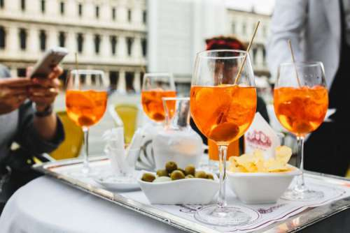 Aperol Spritz is a cocktail consisting of prosecco, aperitif and soda water