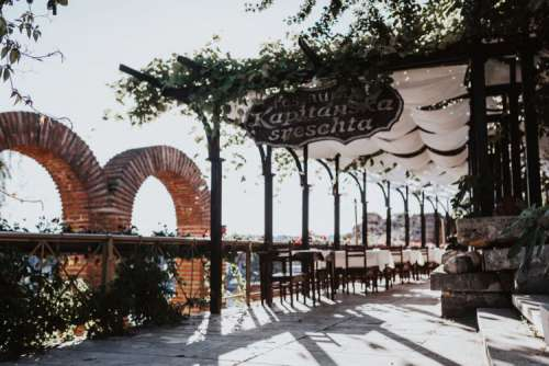 Restaurants in old town of Nessebar, Bulgaria