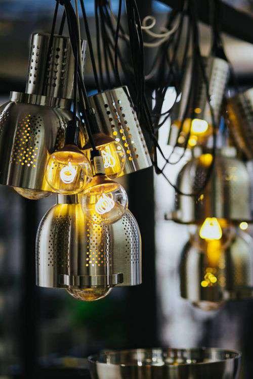Bright lightbulbs giving warm light