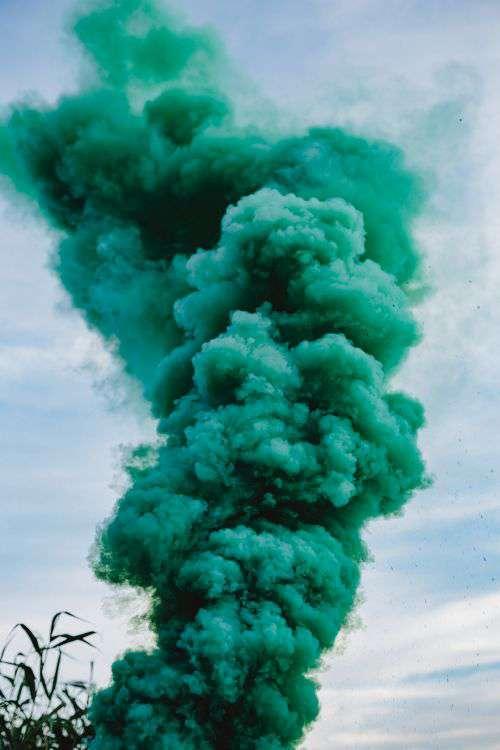 Green smoke bomb