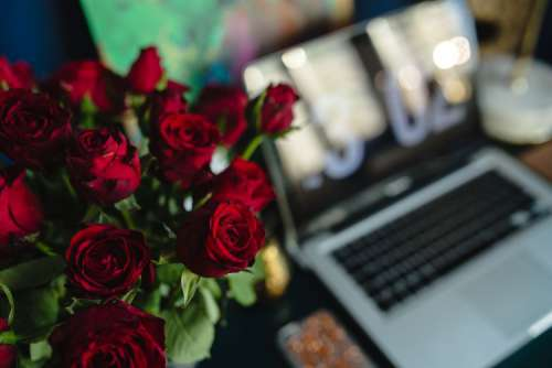 Office Desk Table With Red Roses