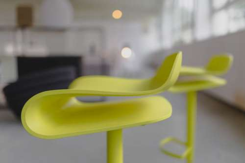 Tall yellow bar stool - Modern designer Bar chair