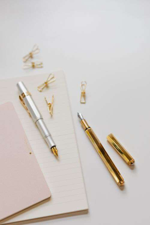 Office supplies on a white desk