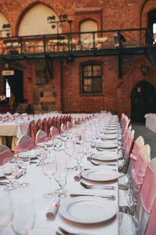 Table at a wedding reception in the castle