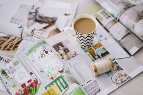 Coffee with home decor magazines