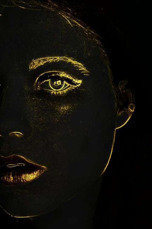 face golden gold contour shape
