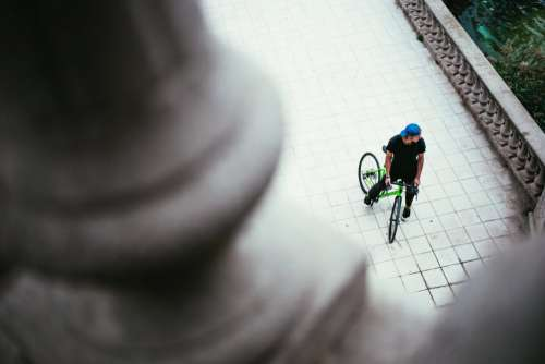 Bicyclist in Park Free Photo