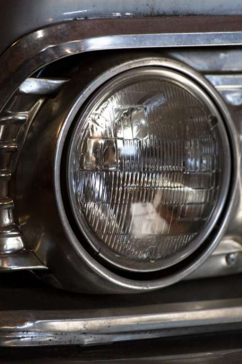Classic Car Headlight Free Photo