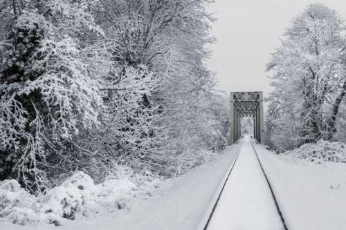Snowy Train Tracks Free Photo