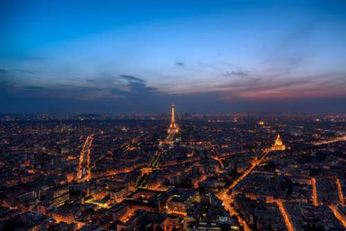 Aerial Paris Night Free Photo