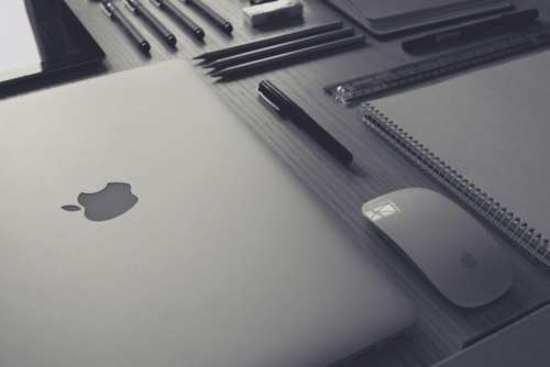 Grayscale Office Desk Free Photo