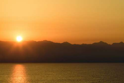 Orange Mountain Sunset Free Photo