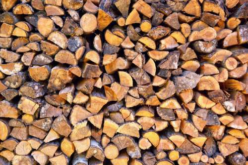 Large Stack Firewood Free Photo