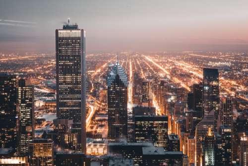City Lights Buildings Free Photo