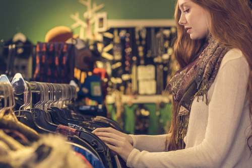 Woman Shopping Clothes Free Photo