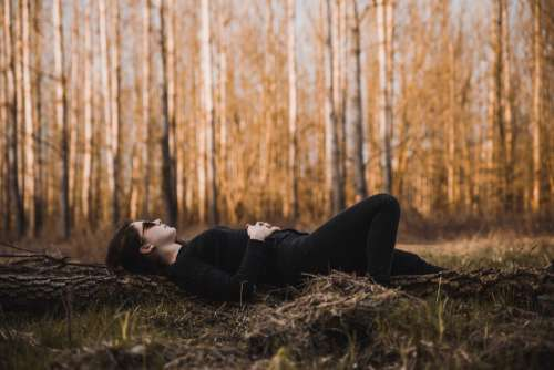 Woman Lying Down Forest Free Photo