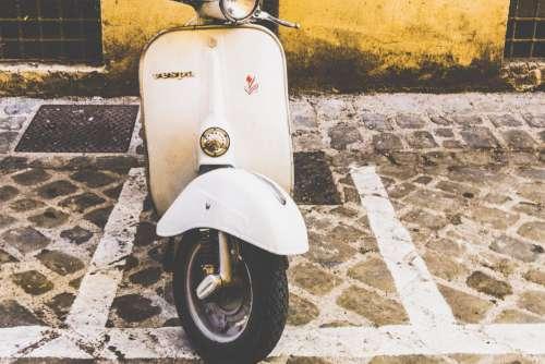 Retro White Vespa Free Photo