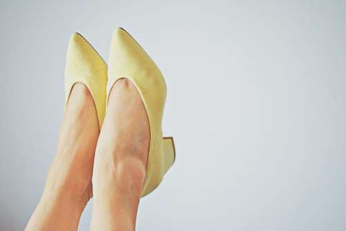 Woman Feet Yellow Shoes Free Photo