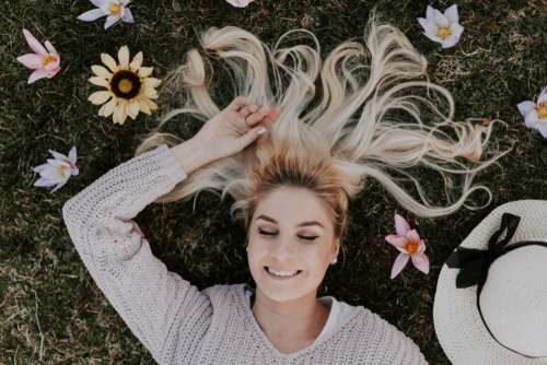 Woman Surrounded Flowers Free Photo