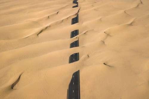 Drone Road Desert Free Photo