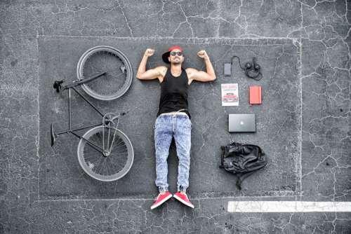 Man Bike Computer Free Photo