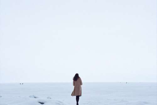 Lonely Woman Snow Free Photo