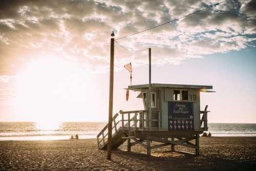 Beach Lifeguard Tower Sunset Free Photo
