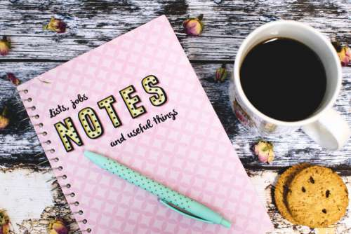 Pink Notebook Pen Coffee Free Photo