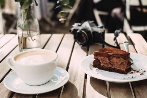 Cappuccino Camera Chocolate Cake Free Photo
