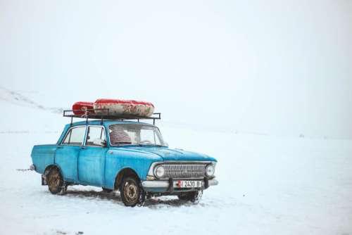 Old Blue Car Snow Free Photo
