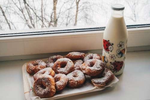 Milk Fresh Donuts Free Photo