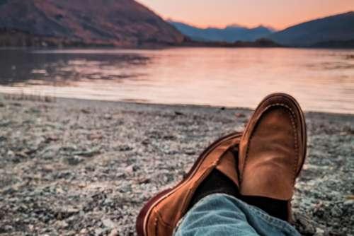 Man Lake Crossed Legs Free Photo