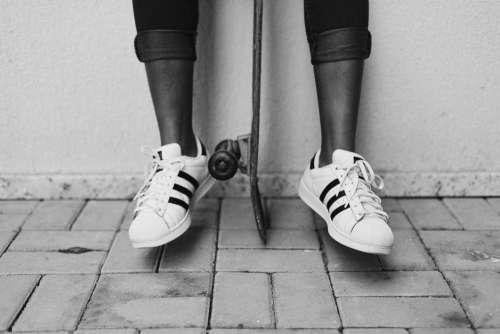 Black White Skateboarder Free Photo