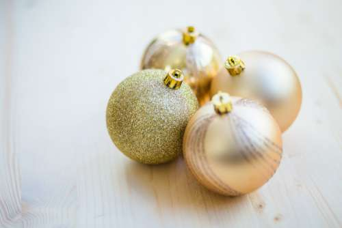 Christmas Baubles Wooden Table Free Photo
