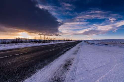 Cold Winter Road Free Photo