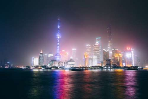 Shanghai Skyline at Night Free Photo