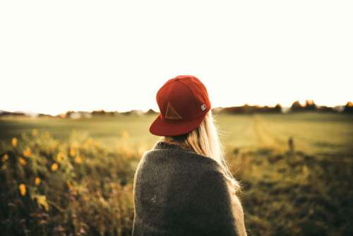 Woman Red Hat Field Free Photo