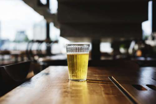 Glass Beer Table Wood Bar Free Photo