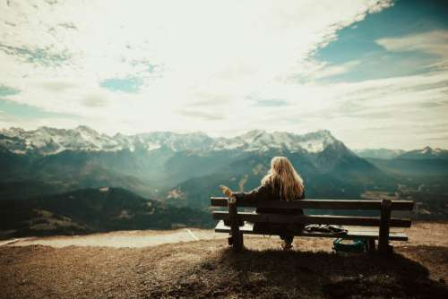 Woman Sitting Bench View Mountains Free Photo