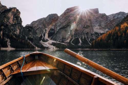 Rowing Boat Lake Mountains Sunset Free Photo